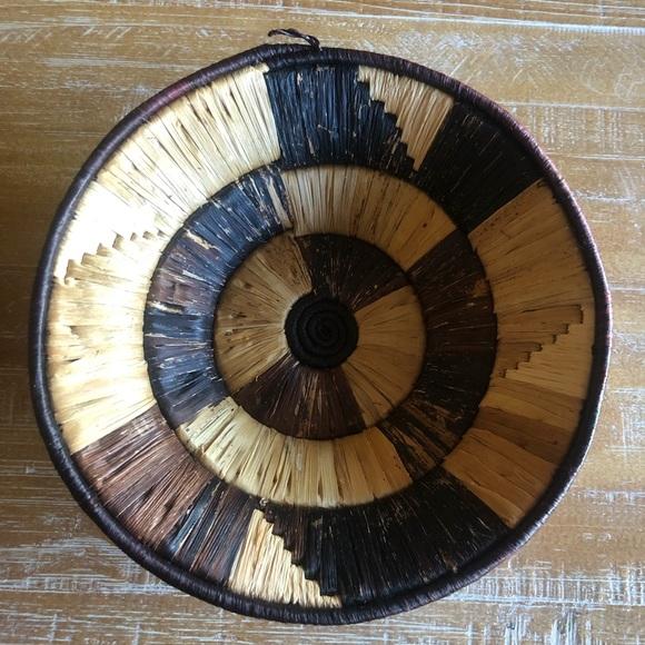 Vintage Wrapped Rattan Ribbon Bowl Basket Wall Decor